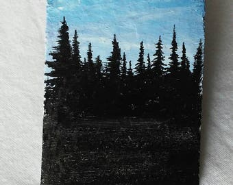 Mini tree top slate painting, magnet