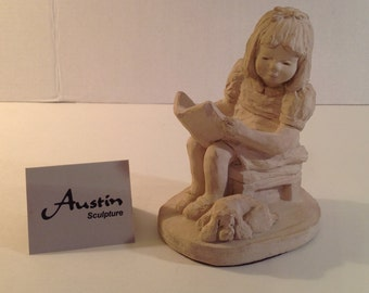Austin Sculpture Happy Endings Bright Eyes by Dee Crowley Girl Reading to Puppy