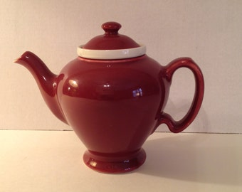 Vintage Tea Pot McCormick Hall Maroon Tea Pot with White Ceramic Infuser