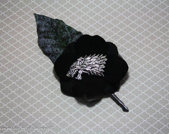 Game of Thrones House Stark Inspired Boutonniere - Metal, Game of Thrones Themed Wedding, Groom, Groomsmen, Prom, Corsage