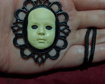 Creepy Baby Doll Face - Pendant / Necklace - Floral Frame