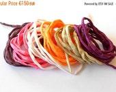 SALE Hand dyed Silk Cords  - Set of 6 - white orange brown silk strings