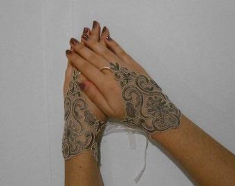 Brown fingerless gloves/ Earth bridal gloves/ wedding gloves/ lace gloves/ victorian bridal gloves