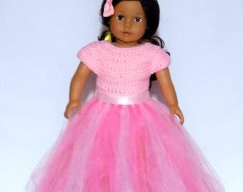 """Doll's  Dress, dolls clothes, 18"""" Doll's clothes,  18"""" doll Tutu Dress - Crochet Dress - Pink Dress"""