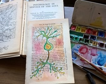 Bipolar Neuron in green and red hues- Neurological Watercolour on vintage book page