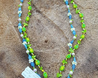 Green and blue beaded vintage necklaces