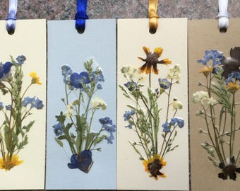 Set of 4 Pressed Flower Bookmarks made with beautiful Montana grown flowers.