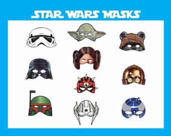 INSTANT DL- Star Wars masks - 10 masks - Digital - jedi Birthday Party -Printable