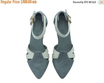 ON SALE Vivian leather denim light blue sandals with buckle
