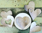 Mixed set of SIX large metal rustic hearts