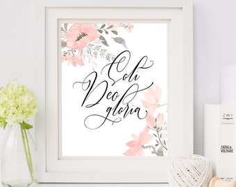Soli Deo Gloria Floral Print, Typographic Wall Art, Multiple Sizes Available, Modern Calligraphy Poster
