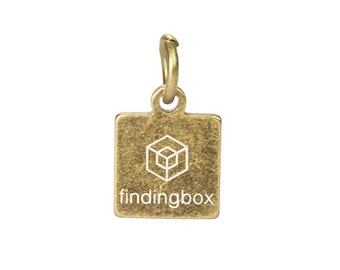 Antique Bronze Square Jewelry Tag, Laser Engraved Logo on Square Tags Sequins, 9x11mm, 19 Gauge, Pkg of 100 PCS, F14P.AN09.P100.C