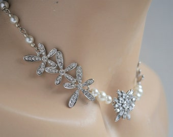 Bridal Pearl Necklace, Crystal Wedding Necklace, Wedding Jewelry, Swarovski Necklace, Bridesmaid Necklace