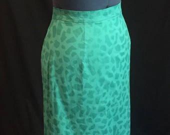 Vintage 1980's Teal Funky Print Midi Skirt