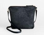 Black Suede Crossbody Bag and Foldover Clutch Purse - Printed Vegan Suede Shoulder Bag, Convertible Crossbody Clutch, Faux Suede Evening Bag
