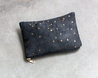 Black & Bronze Zipper Pouch - Small Faux Suede Pouch - Vegan Cosmetic Bag - Dots Coin Purse - Printed Metallic Purse - Suede Cosmetic Pouch