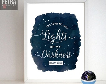 Psalm 18:28 quote, Nursery room digital download/Motivational quote, Inspirational quote wall art decor.