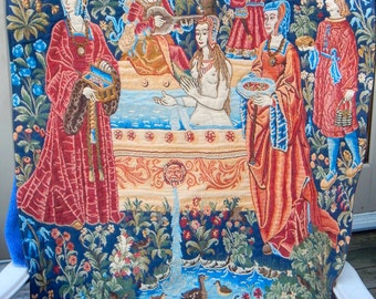 15th CENTURY Tapestry, FRENCH,38X34 inches, serene design