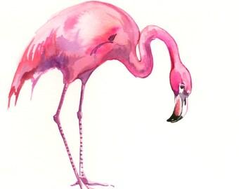 Flamingo, original watercolor painting, 12 X 9 in, pink flamingo art