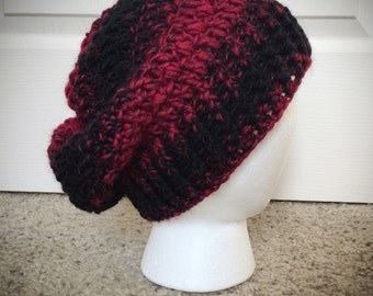 Red and Black Wool Mix Slouchy Winter Hat women's men's