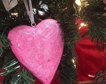 Hand whittled pink heart