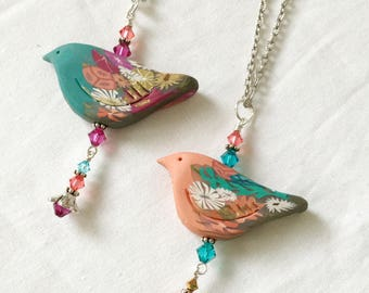 Polymer Clay necklace; Spring Bird Necklace; Spring necklace