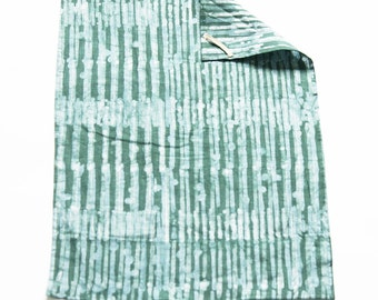 Teal Green Stripe Tea Towel- Handprinted Batik Linen Kitchen Towel