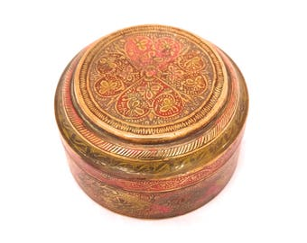 Vintage Indian Brass Round Box, Brass Enamel Jewellery Box, Lidded Round Trinket Box, Enameled Brass Box, Floral Brass Trinket Box