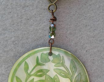 Light Green Etched Paua Shell with Bronze Chain