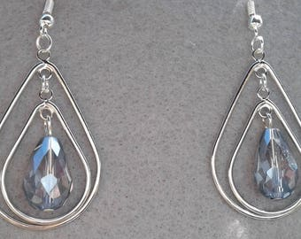 Dangle Light Blue Tear Drop Earrings