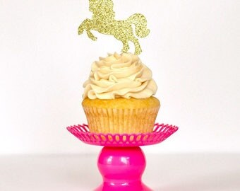 Unicorn Glitter Cupcake Toppers  Unicorn Party Unicorn Birthday Party Birthday Cupcake Toppers Glitter Cupcake Toppers