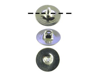 100 Silver Plated 10mm Glueable Button Backs Shanks.  DIY Make a button out of almost anything