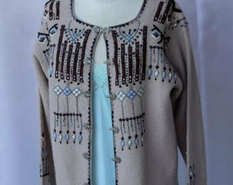 Sexy Spring Sale 25% off Taupe Dove Gray Hand Embroidery Brown Baby Blue VRIKKE Sweater Norwegian Design Metal Clasp  by Irene Haugland Zahl
