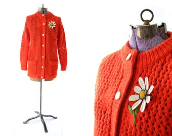 Red Cardigan, 1960s Vintage Clothing, Red Sweater, 60s Sweater, 1960s Sweater, Atomic Red, Neon Red Sweater