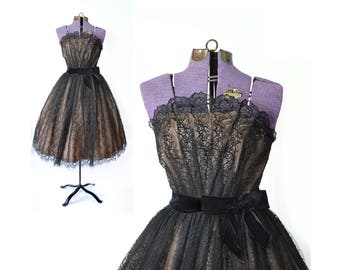 1950s Prom Dress black lace Dress 50s Prom Dress 1950s Dress 50s Dress black party Dress Vintage Dress Womens Clothing