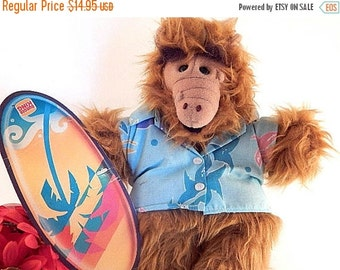 Alf Hand Puppet Burger King Toy Vintage 1988 TV Character Hawaiian Shirt Surfer Stuffed Plush Animal