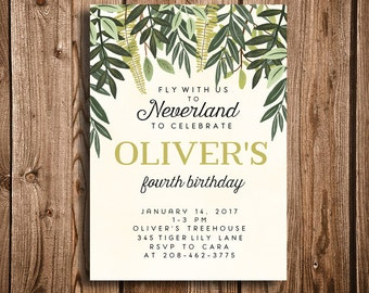 Woodland Peter Pan Baby Shower, Birthday, Printable Invitation