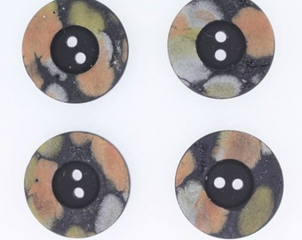 pretty black 2 eye buttons with pastel dark peach khaki olive green grey watercolour chalk design edge - very unusual style 22mm buttons