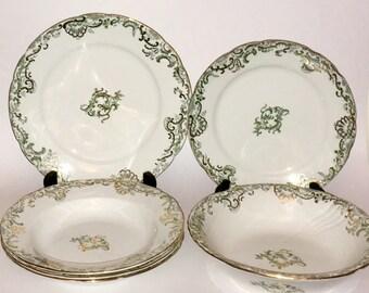 """Rare, antique Porcelaine de Terra """"Holland"""" bowls and plates by John Edwards England, circa 1885"""