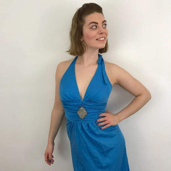 1970s maxi dress blue Grecian disco gown backless halterneck festival bridesmaid long floaty beaded detail vintage wedding UK 8