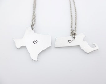 LDR state country necklace long distance love long distance family relationship ldrship going away gift state set matching couples set