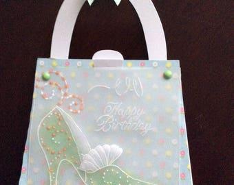 Card - Parchment Craft, Pergamano, handbag shaped, shoe, blank , birthday,