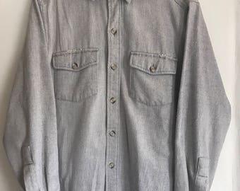 Vintage L.L. Bean Timberline Flannel Shirt - blue grey Medium