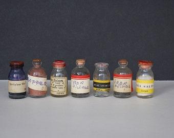 Vintage Miniature Bottles - Vintage Chemistry Bottles - Chemistry Decor - Decorative Bottles - Vintage Science Decor - Miniature Decor