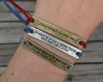 Alice In Wonderland Quote Multistrand Friendship Bracelet - Adjustable