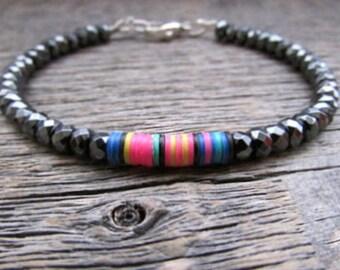 African Vinyl Bracelet, Boho Bead Bracelet, Hematite Stack Bracelet, African Bead Bracelet, Hippie Bracelet, Gypsy Bead Bracelet, Boho Gift
