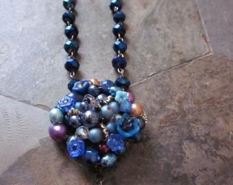 Blue Bead Riot Necklace