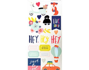 Dear Lizzy - Lovely Day Collection - 6x12 Accent & Phrase Stickers - 151 pieces - 376952