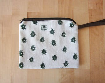 Hand printed canvas pouch, Beetles print, Cosmetics pouch, Zipper pouch, Naturalistic bag, handprinted canvas, white pouch