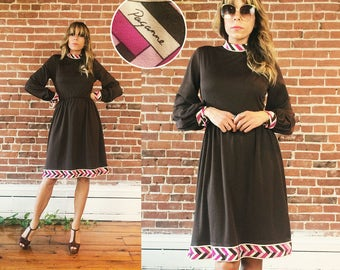 Vintage  1960's Signed PAGANNE Neopolitan Gene Berk Chocolate Strawberry Vanilla Abstract Day And Evening Dress || Size Small